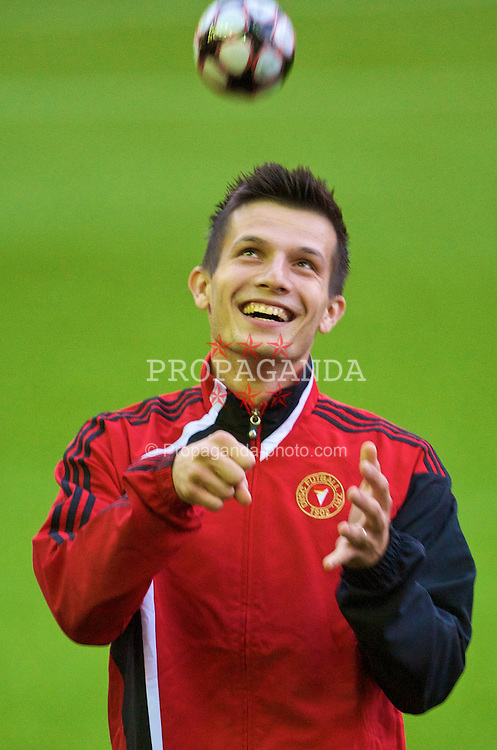 LIVERPOOL, ENGLAND - Tuesday, September 15, 2009: Debreceni's Gergely Rudolf training at Anfield ahead of the UEFA Champions League Group E match against five times champions Liverpool. (Photo by David Rawcliffe/Propaganda)