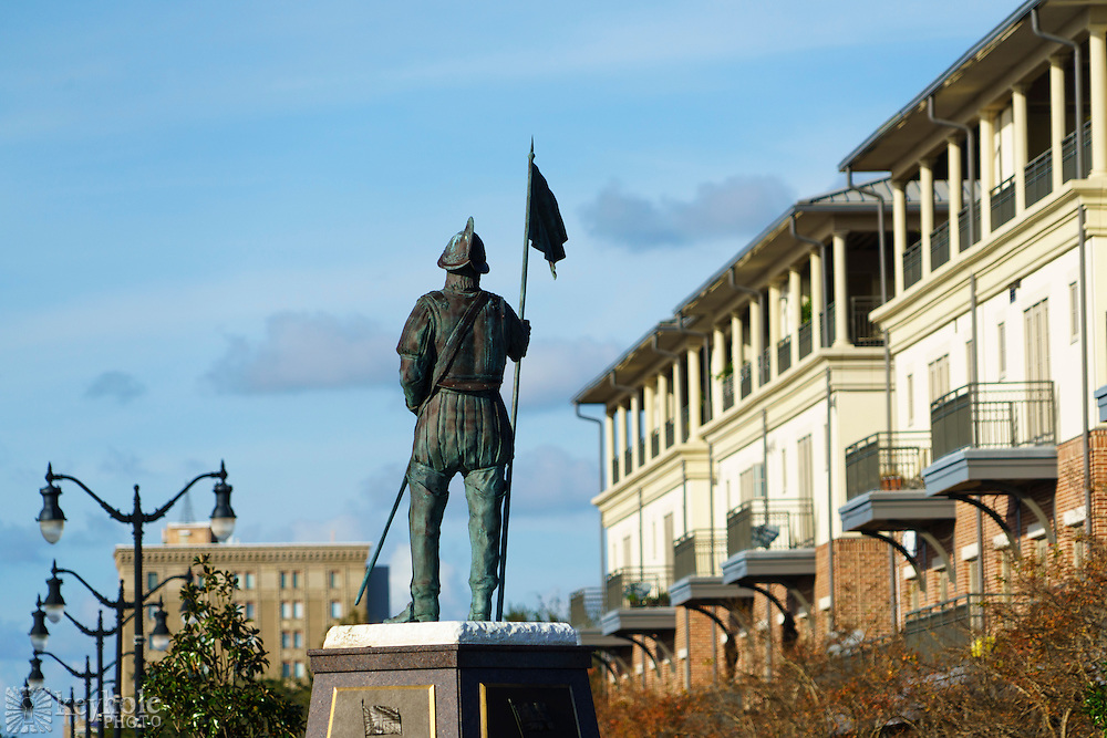 A statue of Spanish explorer and conquistador Tristán de Luna y Arellano stands at the foot of Palafox Street in Pensacola, Florida, Friday, Dec. 11, 2015.