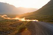 Alaska. The 414 mile Dalton Highway leads to Deadhorse near Prudhoe Bay.