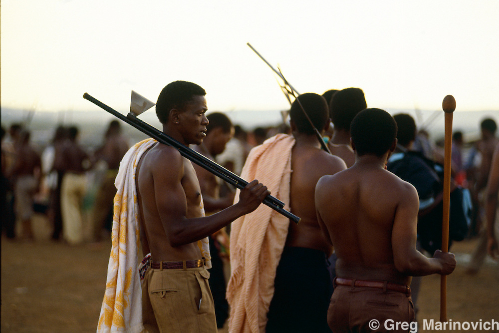 Bekkersdal Township, West Rand,  South Africa ANC supporting Xhosa warriors prepare for battle by getting magic potion or Intelezi at 'the mountain' prior to clashes with rivals Inkatha and AZAPO, 1994