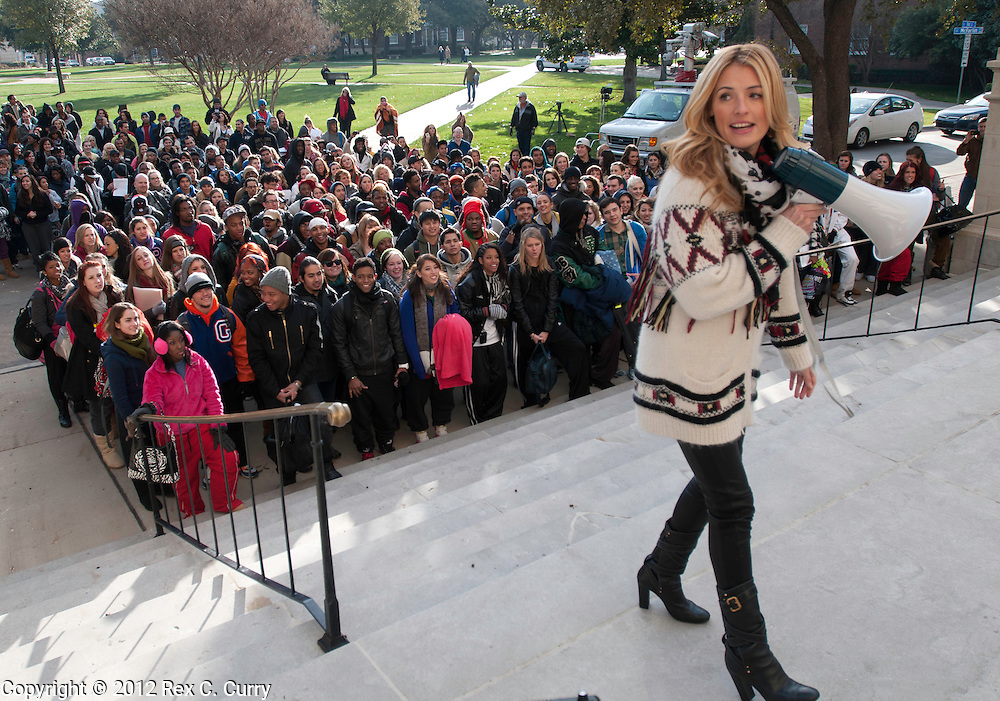 "Cat Deeley, host of ""So You Think You Can Dance"" films an episode with contestants who waited in the early morning cold to audition for the show at SMU on Friday, Jan. 13, 2012."