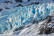 Portage Glacier and Portage Lake in Chugach National Forest in Southcentral Alaska. Morning. Spring.