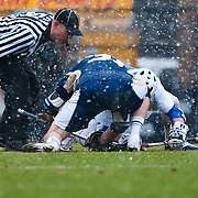 Faceoff in the snowstorm. The third-ranked Fighting Irish defeated sixth-ranked Duke, 13-5, in men's lacrosse action on a snowy Saturday afternoon at Koskinen Stadium in Durham, N.C.