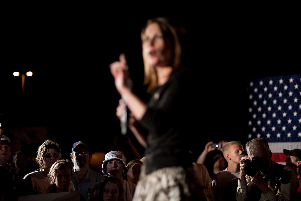 Republican presidential hopeful Michele Bachmann campaigns on Friday, August 12, 2011 in Ames, IA.