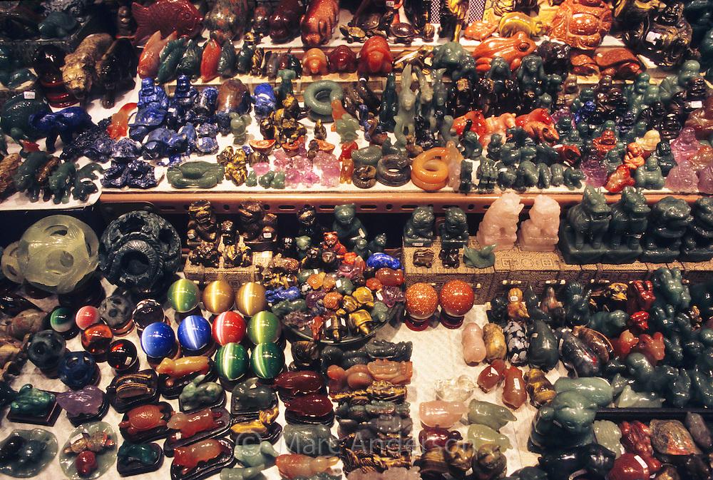 Jade jewellry & ornaments in a jade market in Hong Kong, China.