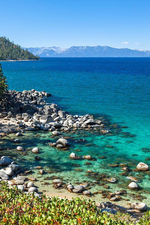 """""""Boulders at Secret Cove 7"""" - These boulders shoreline were photographed at Secret Cove on the East Shore of Lake Tahoe."""