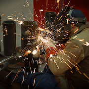 A welder demonstrates his work at the ABC convention at the San Diego Convention Center. Photography by Dallas commercial photographer William Morton of Morton Visuals.