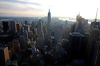 Top of the Rock Observation Deck view in New York. <br /> <br /> Photo by Robert Caplin