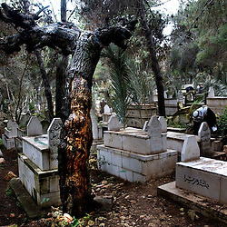 NABLUS, WEST BANK, FEB. 9 2003: A Palestinian visits  a grave of his relative on the eve of the Muslim holiday of Eid al-Adha (Feast of Sacrifice) in the West Bank city of Nablus,  February 10, 2003. .
