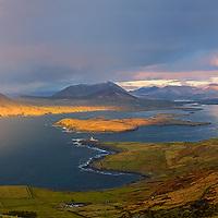 Rainbow - View from Geokaun Mountain with Valentia Island lighthouse / vl134