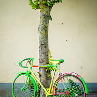 A coulorful bicycle being used as street art in the small town of Aire sur la Lys in France.