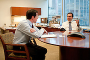 Craig S. Phillips, managing director at BlackRock solutions, in his office. Foreground: director Brian Beades..BlackRock headquarters on 52nd street in Manhattan, New York City..Blackrock is the world's largest money managing company. According to Fortune magazine 'With more than $3 trillion in assets, Larry Fink and his team at BlackRock are the world's largest money managers'.