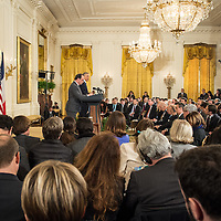 U.S. President Barack Obama (R) and French President Francois Hollande hold a joint press conference in the East Room of the White House in Washington, DC. November 24, 2015.
