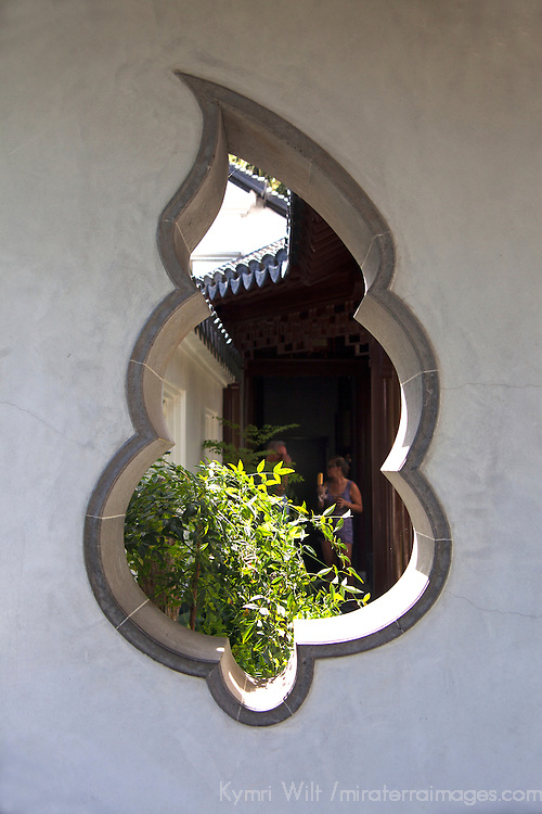 USA, California, San Marino. Architectural detail of The Huntington Library Chinese Gardens.