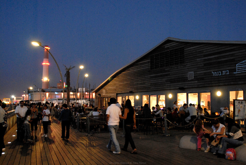the popular deck of Tel Aviv's port at dusk