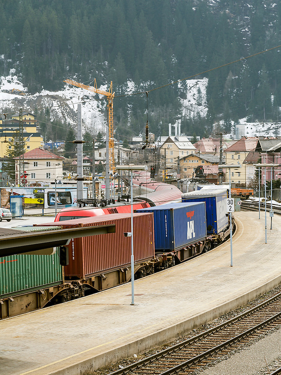 A freight train passing through the alpine town of Bad Gastein in Austria. This is an important gateway for goods being transpoeted between the north and south of Europe