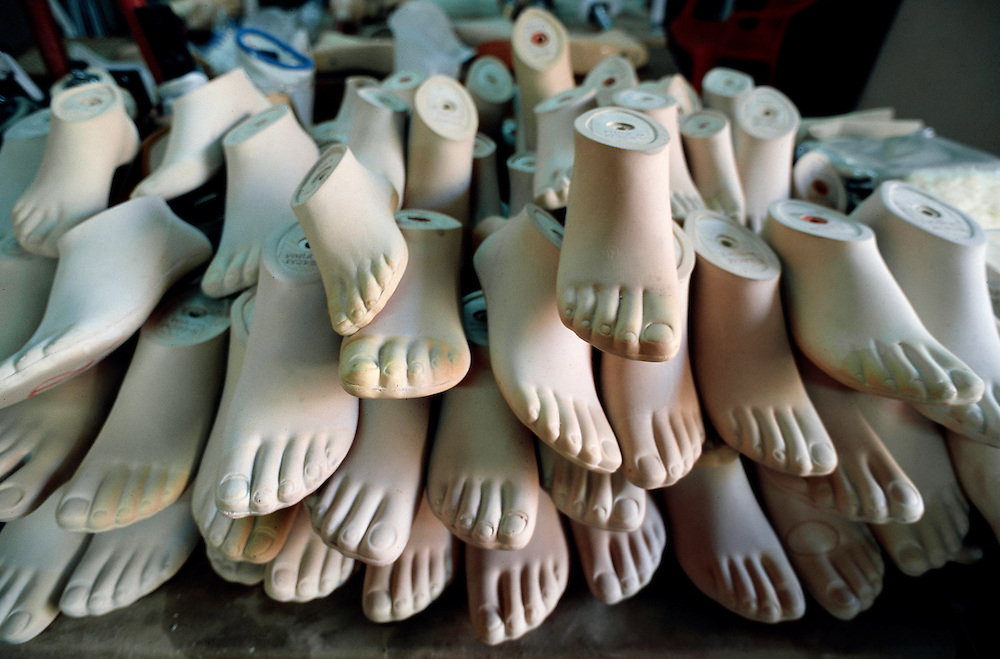 Prosthetic feet, donated by American prosthetic manufacturers, in a pile at the Walking Unidos Clinic in Léon, Nicaragua.