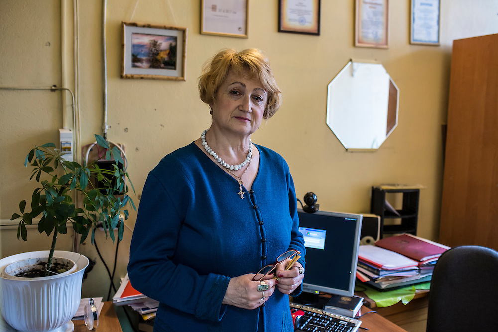 Computer science teacher Larisa Ishkova poses for a portrait in her office at Kanyayev College on Tuesday, February 25, 2014 in Tver, Russia. Ishkova taught Alexander Panin, a Russian citizen who was arrested in the Dominican Republic in June 2013, and is set to be charged by federal authorities in the US with being part of a gang which robbed bank accounts via the Internet. Photo by Brendan Hoffman, Freelance