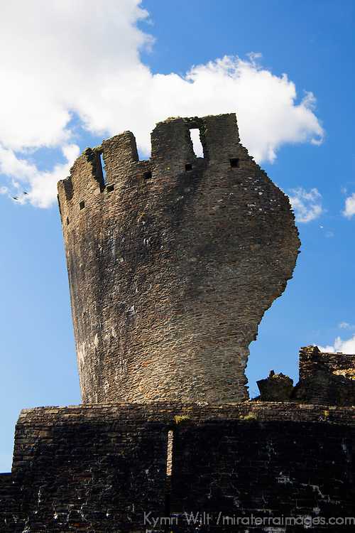 Europe, United Kingdom, Wales, Caerphilly. Leaning Tower of Caerphilly Castle, Wales.