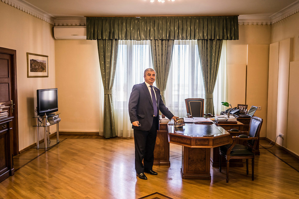 Ashot Ghoulyan, the Chairman of the National Assembly of the Republic of Nagorno Karabakh, in his office before an interview with foreign journalists on Sunday, May 8, 2016 in Stepanakert, Nagorno-Karabakh.
