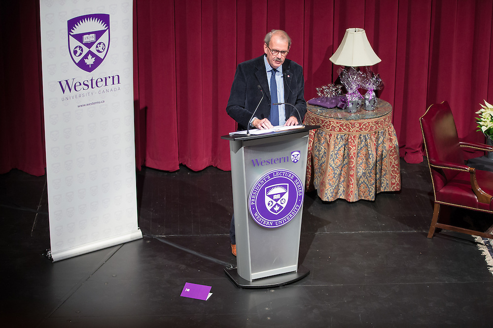 Dr. David Bentley, winner of the 2015 Canada Council Killam Prize, delivers his lecture &ldquo;Simile, Metaphor, and the Making and Perception of Canada,&rdquo; , the latest in the President's Lecture Series at Western University in London, Ontario November 25, 2015.<br />  Geoff Robins