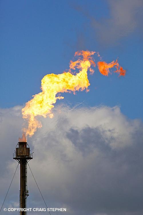 A flare burning off gas at Exxonmobil Fife Ethylene Plant, Scotland