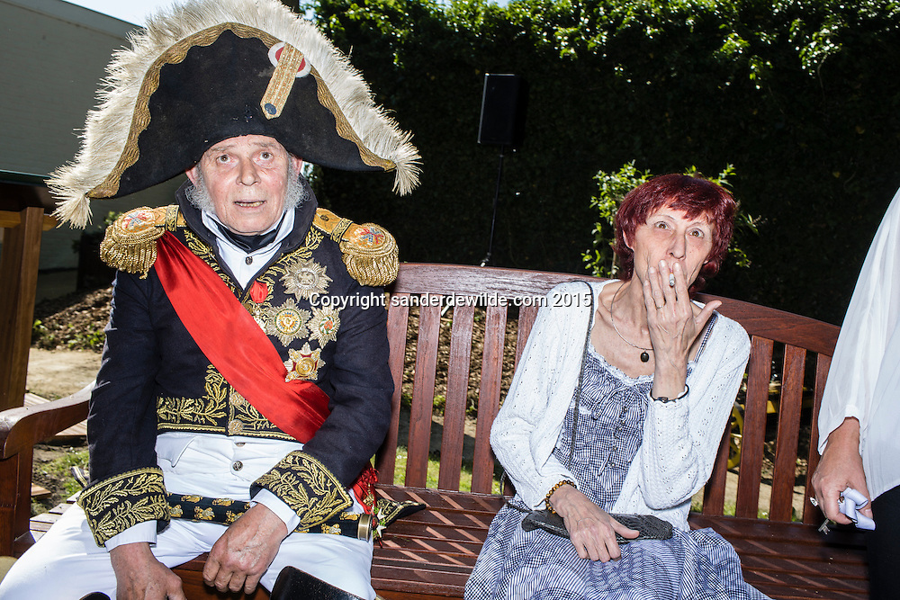 Belgium, Vieux-Genappe near Waterloo on 4th of June 2015. Official reopening of this former  farm, now a museum  where Emperor Napoleon and his staff spent the night of 17th June 1815. The last night before the battle of Waterloo.re-enactor interacting with the public.