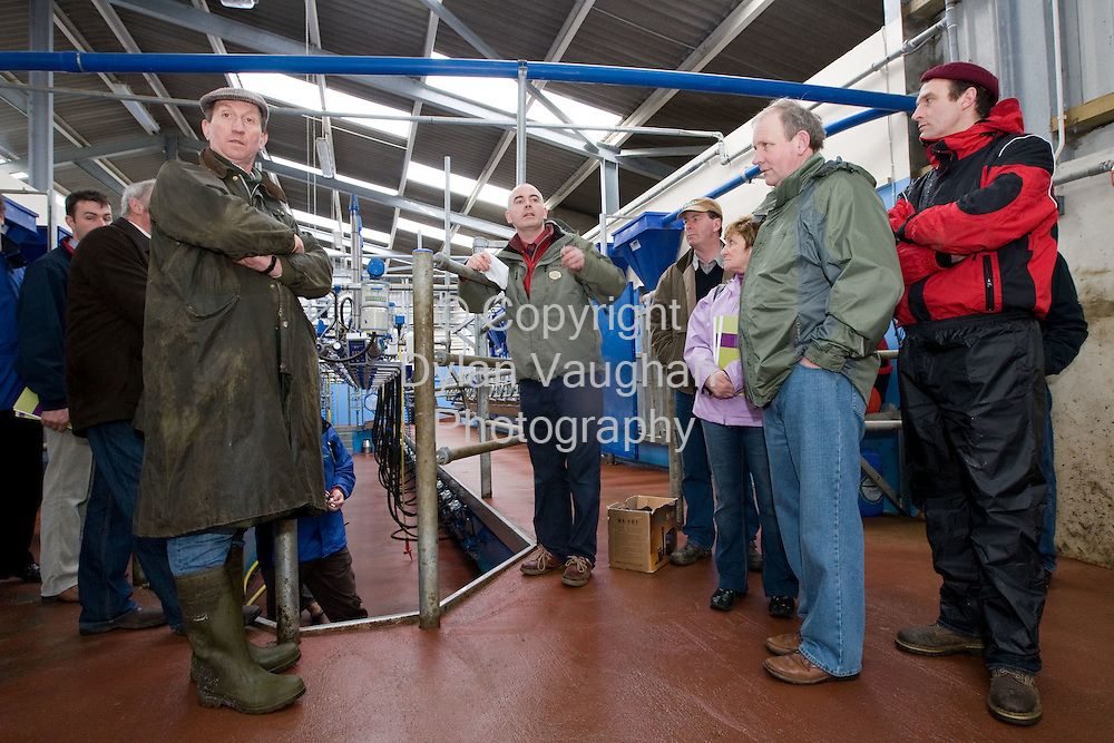 """13/3/2008.free picture no charge for use.Pictured at the Teagasc Farm Buildings Conference and Demonstration Building for your Future"""" at Kildalton College was from left John Kelly, Teagasc giving a demonstration..Picture Dylan Vaughan."""