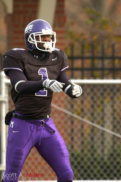Nov. 24, 2007; Alliance, OH, USA;  Mount Union Purple Raiders receiver Pierre Garcon (1) during his team's 59-7 win over the College of New Jersey Lions in the second round of the Division III playoffs at Mount Union Stadium. ...©2007 Scott A. Miller