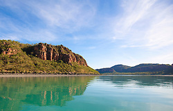 The dramatic red cliffs of the Kimberley coast near the mouth of the Hunter River.