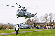 24th March, 2017. Royal Navy Sea King helicopter visits Mains Farm Wigwams Glamping Seaking helicopter accommodation, Thornhill, Stirling.