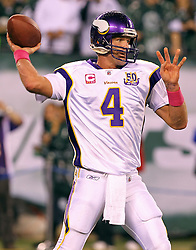 Oct 11, 2010; East Rutherford, NJ, USA; Minnesota Vikings quarterback Brett Favre (4) throws a pass during the pre-game warmup before their game against the New York Jets at the New Meadowlands Stadium.