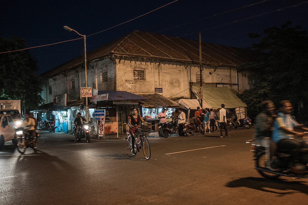 Evening traffic in Pondicherry during the Ganesh Chaturthi Festival.  India.