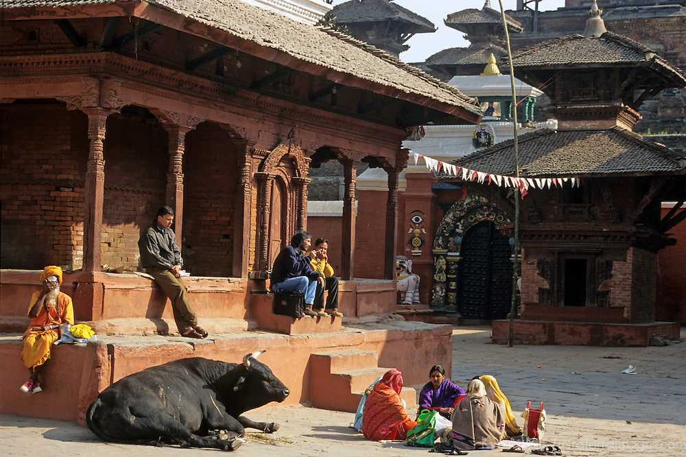 Asia, Nepal, Bhaktapur. Scene from Durbar Square, Bhaktapur, a UNESCO World Heritage Site.