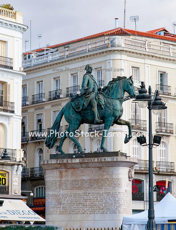 Bronze statue of King Carlos III, Puerta del Sol, Madrid, Spain