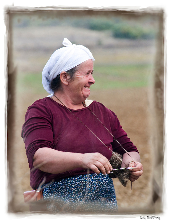 Albanian farmer woman knitting