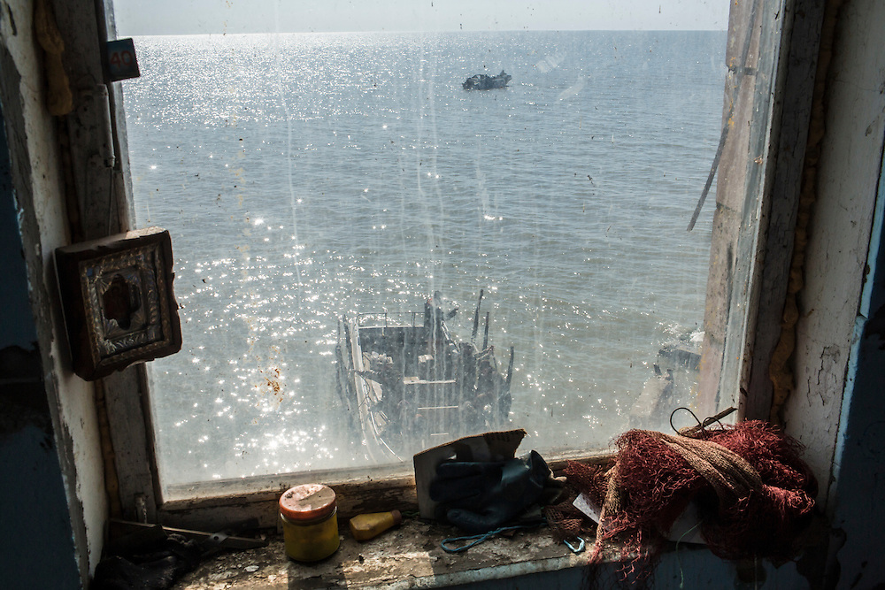 Fishing boats on the Sea of Azov on Saturday, April 11, 2015 in Siedove, Ukraine.