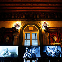 "MIAMI, FL -- January 21, 2008 -- A video installation, ""Triangle of Need"" by Catherine Sullivan plays on three screens in at Vizcaya Museum & Gardens in Miami, Fla., on Saturday, January 21, 2008.  The film was created at Vizcaya and is part of the Contemporary Arts Project running until Feb. 24, 2008.  Agricultural industrialist James Deering built Vizcaya Museum & Gardens in 1916 with ornate gardens and sculpture surrounding the massive main house."