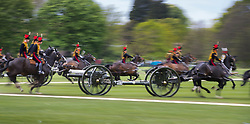 © Licensed to London News Pictures. 21/04/2017. London, UK. The King's Troop Royal Horse Artillery ride in to Hyde Park to give a 41 Gun Royal Salute to mark Queen Elizabeth II's 91st birthday. A gun salute is also taking place near Tower Bridge. The Queen's official birthday is celebrated in June with the Trooping the Colour ceremony. Photo credit: Peter Macdiarmid/LN