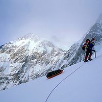 USA, Alaska, Denali National Park, (MR) Rick Ford leads steep climb at 12,000' on West Buttress Route up Mount McKinley