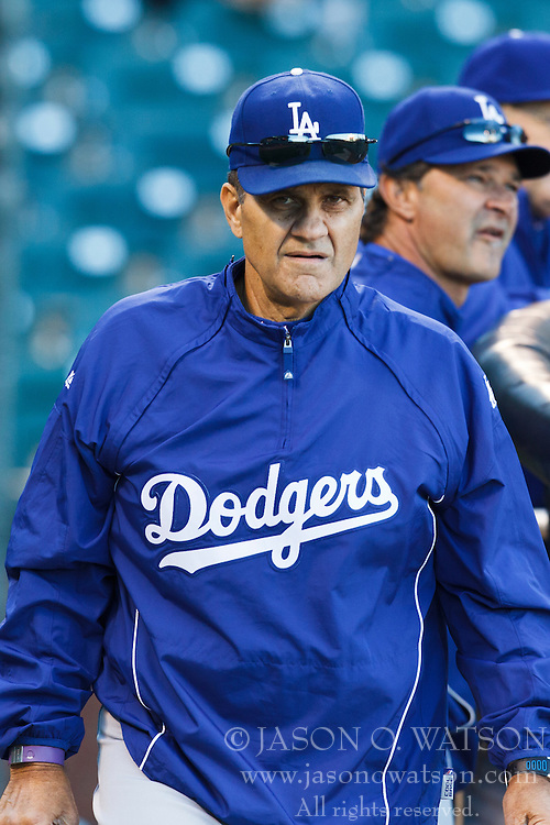 September 14, 2010; San Francisco, CA, USA;  Los Angeles Dodgers manager Joe Torre (left) and batting coach Don Mattingly (right) watch batting practice before the game against the San Francisco Giants at AT&T Park. Los Angeles defeated San Francisco 1-0.