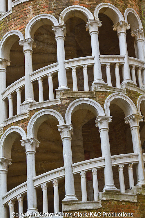 The spiral staircase, shaped like the spiral in a shell, at Palazzo Contarini del Bovolo, on Corte Contarini Dal Bovolo, in Venice, Italy.