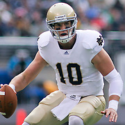 Norte Dame Junior Quarterback (#10) Dayne Crist attempts a pass under pressure. Navy defeats Notre Dame 35-17 at The New Giant's Stadium in East Rutherford New Jersey