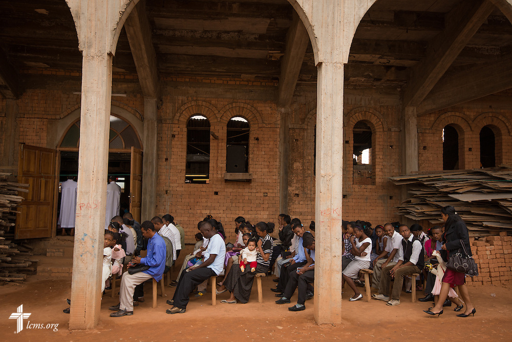 Parishioners pack the outside of the church during worship at Ivato Lutheran Church in the capital city of Antananarivo in Madagascar, on Sunday, Feb. 9, 2014. LCMS Communications/Erik M. Lunsford