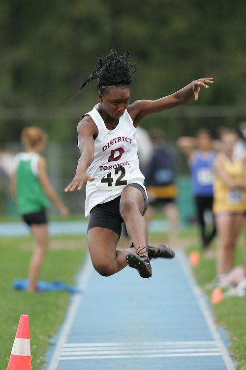 Jennifer Adada competing in the long jump at the 2007 Ontario Legion Track and Field Championships. The event was held in Ottawa on July 20 and 21.