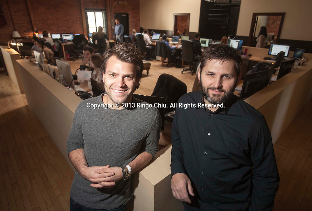 Zach James (L) and Rich Raddon of ZEFR. A Venice company that partners with studios to post movie clips on YouTube and make ad revenue off the popular videos. (Photo by Ringo Chiu/PHOTOFORMULA.com)