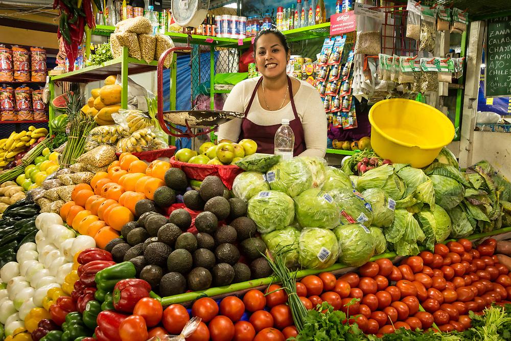 Fresh produce stall at Mercado Francisco I. Madero in La Paz, Baja California Sur, Mexico.