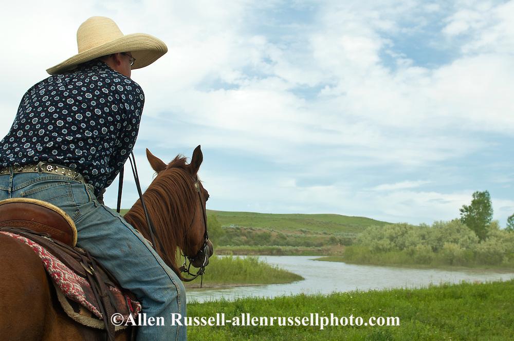 Crow Indian, John Real Bird looks across Little Bighorn River, Crow Indian reservation, Montana