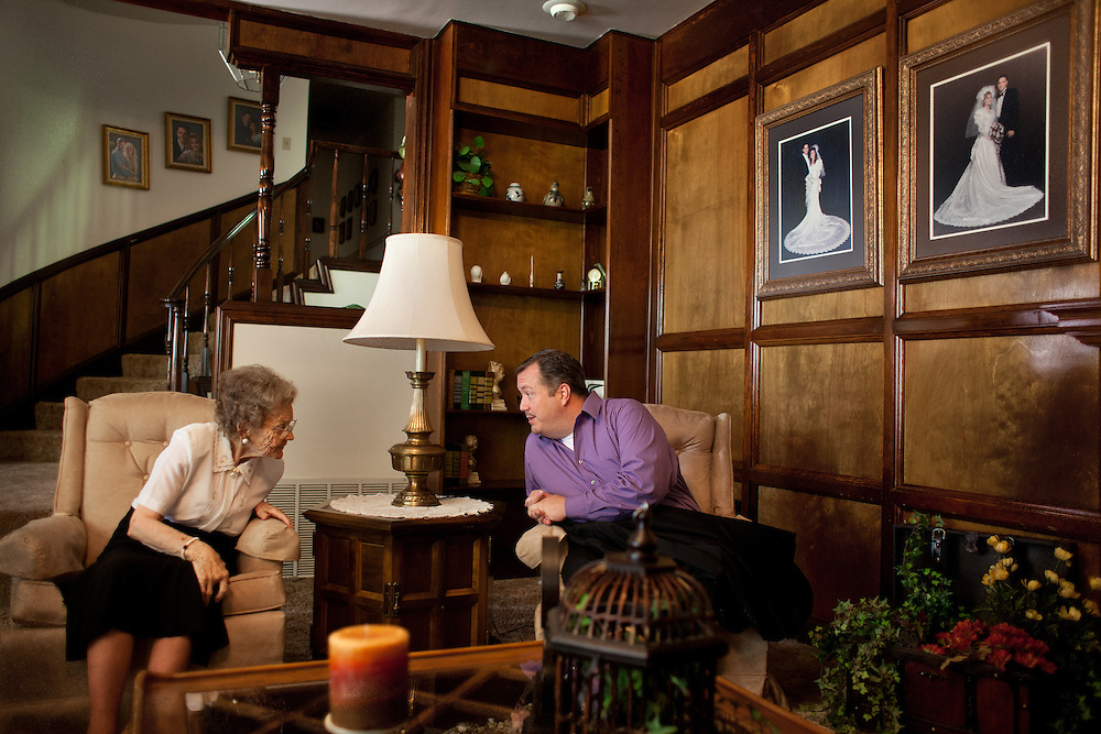 From left, Nellie Romney, 95, and her nephew Jeff Romney talk at Meredith Romney's house in Colonia Juarez, Mexico in July 2011. United States Presidential candidate Mitt Romney's family migrated to Mexico over 100 years ago after being granted asylum from Mexican President Porfirio Diaz after they had been pursued by the U.S. authorities for polygamy. ..(Romney is currently running for the Republican nomination.)