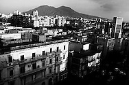 Naples suburb, Vesuvius on background
